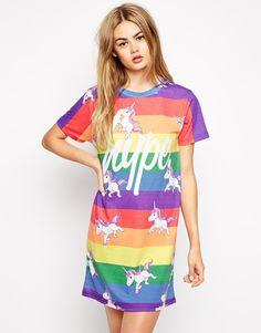 Hype T-Shirt Dress With Rainbow Unicorn Print
