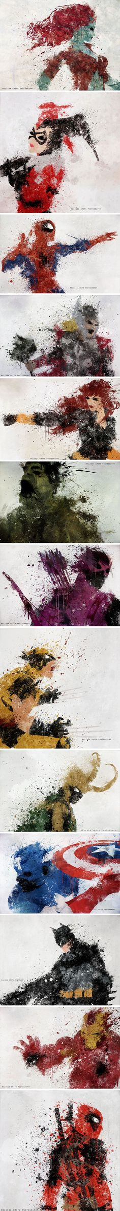 Melissa Smith's Superhero Splatter Art - For a moment I thought Thor was Hawkgirl and then I had some more coffee. But Captain America is AMAZING.