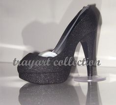Black sparkle High Heel Stiletto Platform Shoe TAPE DISPENSER office supplies - trayart collection. $25.00, via Etsy.