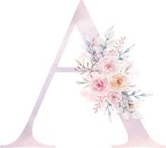 A Watercolor Lettering, Floral Watercolor, Watercolour, Happy Birthday Ballons, Cute Wallpapers Quotes, Alphabet Wallpaper, Fancy Fonts, Floral Letters, Pastel Wallpaper