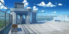 Rooftop of a japanese school Scenery Background, Living Room Background, Animation Background, Background Pictures, Anime Backgrounds Wallpapers, Anime Scenery Wallpaper, Episode Interactive Backgrounds, Episode Backgrounds, Anime Hospital