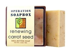 Renewing Carrot Seed Shea Butter Face Bar  Features:  Face Soap  Jojoba Oil  French Clay  Pure Carrot Seed, Vetiver, Orange, Litsea Cubeba Essential Oils  Fresh Carrot Pulp