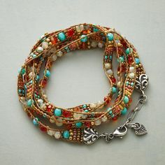 "DESERT DREAM WRAP BRACELET -- Hand loomed by Southwestern artist Adonnah Langer, Czech fire-polished and Japanese seed beads add delicate sparkle in desert hues on our sterling silver-capped bracelet. Sterling lobster clasp. USA. Exclusive. 34"" to 35""L."