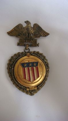 Vintage PATRIOTIC EAGLE Costume Pin with Attached Locket #unbranded