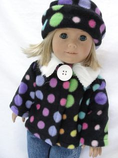 American Girl Doll Clothes Black Polka Dot Coat & Hat