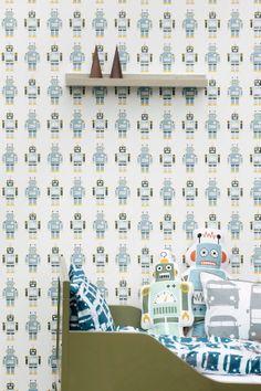 Materiaali: kuitutapetti. Koko: 10,05x0,53 m. Kohdistus: Suora 26,5 cm. Kuvaus: Robots-tapetti.