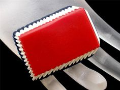 Vintage Red White Blue Dress Clip Enamel by TheJewelryLadysStore, $22.00