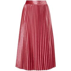 Velour Pleated Skirt ❤ liked on Polyvore featuring skirts, red pleated skirt, red skirt, red knee length skirt, pleated skirt and velour skirt