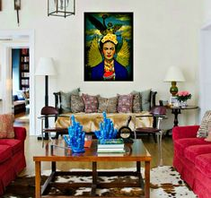 Frida Kahlo Angel of Independence Art Print Original Photomontage Signed Mixed Media Collage Modern Home Decor Mexico City Clouds Statue