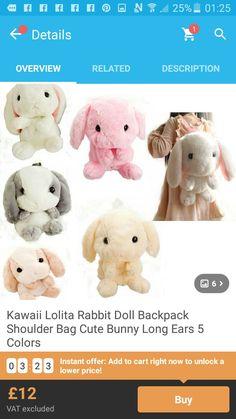I think you'll like Kawaii Lolita Rabbit Doll Backpack Shoulder Bag Cute Bunny Long Ears 5 Colors. Add it to your wishlist!  http://www.wish.com/c/574a7e46f1befd608c223e21