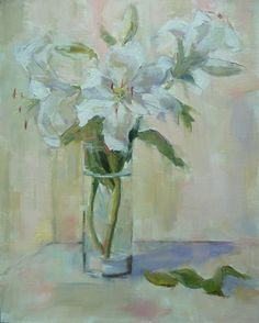 Casablanca Lillies. (16 X 20 - $575)  This painting will be at my show at Water Street Studio starting, November 7th, 2014