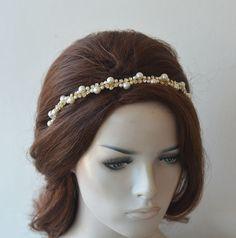 Hair Tiara Bride, Wedding Pearl Crown, Bridal Rhinestone Headpiece, Crystal Hair Vine, Gold Headband, Bridal Hair Piece, Hair Accessories