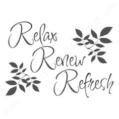 """Add this calming """"Relax, Renew, Refresh"""" wall quote decal to any room, and instantly add a little spa-upgrade to your walls. 34""""x24"""" (86x61cm)"""