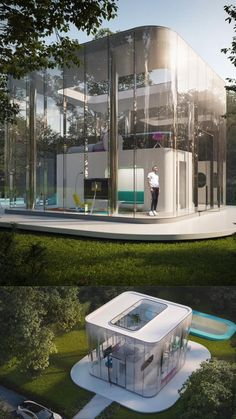 Innovative Architecture, Futuristic Architecture, Amazing Architecture, Interior Architecture, Urban Design Concept, Modern Mediterranean Homes, Futuristic Home, Cool Tree Houses, Glass Structure