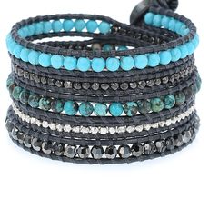 Compressed Turquoise Mix Sectioned Wrap Bracelet on Gunmetal Leather