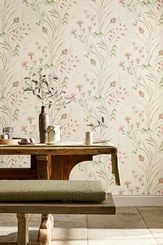An Attractive Summer Harvest Floral Design Wallpaper By Sanderson Featuring A Trailing Pattern Of Flowers And