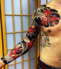 Japanese tattoo sleeve by Sergey Buslay. - Japanese tattoo sleeve by Sergey Buslay. Koi Tattoo Sleeve, Best Sleeve Tattoos, Tattoo Sleeve Designs, Leg Tattoos, Black Tattoos, Tribal Tattoos, Tattoos For Guys, Japanese Tattoos For Men, Japanese Tattoo Art