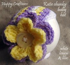 Baby BIG FLOWER HAT, Chunky Crochet, shell edged, Katie, Photo Prop, Baby Gift, Baby Shower, Birth, Christening, Baptism, plain or striped