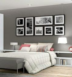 Dormitorio Picture Frame Layout, Grey Picture Frames, White Frames, Frames On Wall, Picture Wall, Mirrored Picture Frames, Black And White Photo Wall, White Picture, Black White