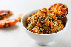 Israeli couscous salad with burnt citrus dressing.
