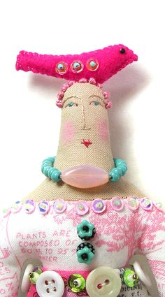 Small Whimsical Handmade Cloth Art Doll With A by theresahutnick