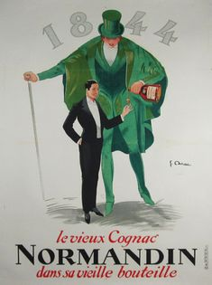 Cognac Normandin #original #vintage wine and spirits #poster by Jean-Raoul Naurac from 1926 France.