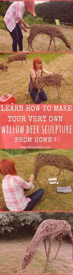 Learn the art of willow sculpture. Learn how to make your own willow deer sculpt… Learn the art of willow sculpture. Learn how to make your own willow deer sculpture. Garden Crafts, Garden Projects, Art Projects, Garden Ideas, Willow Weaving, Deco Nature, Willow Branches, Nature Crafts, Land Art
