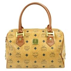 Pre-owned Mcm Boston Bowler Cognac Satchel ($330) ❤ liked on Polyvore featuring bags, handbags, cognac, bowler satchel, mcm, strap purse, pre owned handbags and preowned handbags