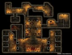The Tavern Cellar connects directly to a underground fight club led by the organization owning the tavern above, they drag in unconscious drunks or some other poor souls from the streets to fight to the death, winner gets his freedom back! Dnd World Map, Rpg World, Cyberpunk, Dungeons And Dragons Homebrew, D&d Dungeons And Dragons, Underground Map, Building Map, Rpg Map, Dungeon Maps