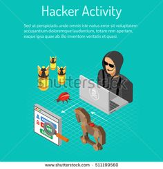 Cyber crime and Hacker Activity Concept with isometric flat icons like hacker, virus, bug and hacking password. vector illustration.