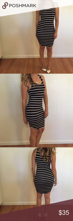Black & White Striped Curved Hem Tank Dress Black & White Striped Curved Hem Tank Dress. 92% polyester. 8% spandex. True to size. Stretchy. Model is wearing a small for reference. No trades. 15% discount on all 3+ bundles made with the bundle feature. No offers will be considered unless you use the offer tab. Thank you!      Please follow  Instagram: BossyJoc3y Dresses Midi