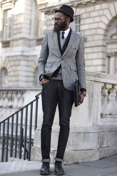 Perfection. True fashion. Suits. Man. Black & Grey. Dr Martens. Jeans. Shaka Maidoh. London.