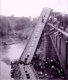Lehigh Valley Railroad derailment on the bridge over the Canandaigua Lake outlet, near Manchester, 1911.  The train was on route to Rochester, NY.  29 killed, 62 Injured.
