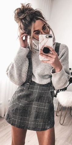 #winter #outfits Cuty Little robe à carreaux
