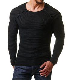 020cb27b907a0e EightyFive Herren Feinstrick-Pullover Gerippt Streifen Weiß Blau Schwarz  EF1695   my wears!! in 2018   Pinterest   How to wear and Pullover