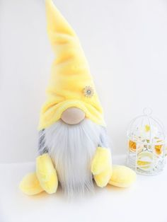 Soft plush gnome with flower_ Nisse home decoration_yellow Scandinavian Tomte _ fall gift Christmas Gnome, Christmas Crafts, Gnome Hat, Scandinavian Gnomes, Fall Gifts, Gnome House, Free To Use Images, Fabric Dolls, Diy Crafts For Kids