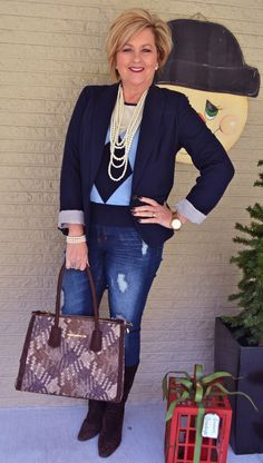 Fashion over 40 for the everyday woman @50isnotold.com Argyle and distressed jeans