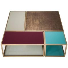 """Modular """"Mondrian"""", Bronze, Brass and Glass Low Table 