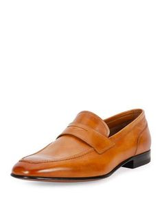 BALLY BRENT LEATHER PENNY LOAFER, BROWN. #bally #shoes #