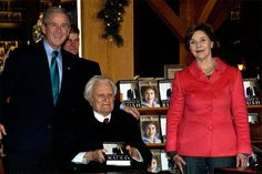 Mr. Graham joined George and Laura Bush as they signed books at the Billy Graham Library in December 2010.