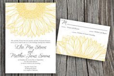 Yellow Sunflower Elise Printable Wedding by LadyPoppyDesigns