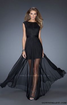 2015 La Femme 19822 Black Cap Sleeve Long Jersey Gown