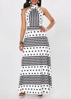 White Halter Polka Dot Maxi Dress   Rosewe.com - USD $33.60