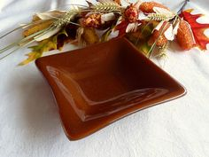 Fused Glass Dish in Cinnabar Brown by bprdesigns