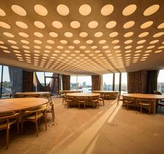 Olafur Eliasson has completed his first building with his architectural team at Studio Olafur Eliasson – the Fjordenhus, located in Vejle, Denmark Vejle, Interior Exterior, Interior Architecture, Interior Design, Studio Olafur Eliasson, Glazed Brick, Brick Construction, Ceiling Treatments, Artistic Installation