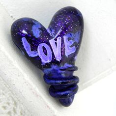Wrapped in Love  Heart Pendant/Bead  Purple/Blue by LavaGifts, $9.00