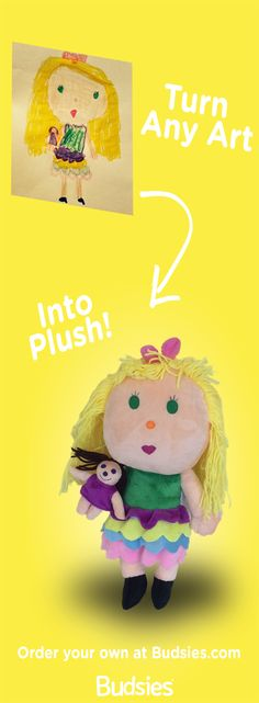 Treasure your child's artwork by turning it into a 3D stuffed that can be with them forever :) Budsies will turn their drawings into stuffed toys!