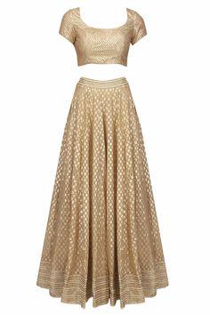Abhinav Mishra presents Beige and gold gota patti lace lehenga and blouse set available only at Pernia's Pop Up Shop. Lehenga Reception, Red Wedding Lehenga, Red Lehenga, Red Wedding Dresses, Bridal Lehenga, Lehenga Choli, Sharara, Sabyasachi, Indian Dresses