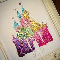 Disney Castle decoration, Disney Princess Castle button and Swarovski crystal framed art. Button art. Button frame. Disney. Personalised gifts. The castle is created using high quality buttons, rhinestones and genuine Swarovski crystals. Each piece is made with love and to a high