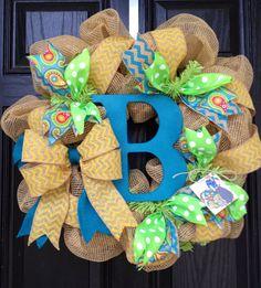 Burlap monogram wreath with Turquoise / /Yellow // Lime // Chevron // Summer Burlap Wreath by KilbiBranchDesigns on Etsy https://www.etsy.com/listing/150419137/burlap-monogram-wreath-with-turquoise